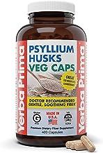 Yerba Prima Psyllium Husks Veg Caps, 400 Capsules (625mg) - Vegan, Non-GMO, Gluten Free, Colon Cleanser, Daily Fiber Suppl...