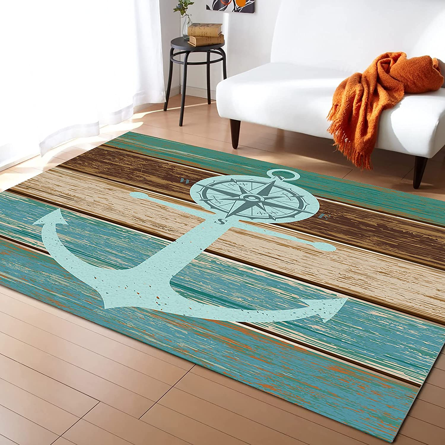 5x7 Feet Floor List price Mat Area Rug Anchor Vintag Turquoise safety Compass and