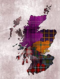 Wee Blue Coo Scotland Map Tartan Regions Large Wall Art Poster Print Thick Paper 18X24 Inch