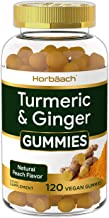 Vegan Turmeric Curcumin Gummies | 120 Count | Plus Ginger | Peach Flavor | Non-GMO & Gluten Free Supplement | by Horbaach