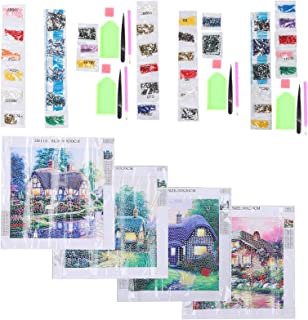 4 مجموعة من أدوات الرسم بأحجار الراين لوحة ماسية ، لوحة ماسية ذاتية الصنع ، عدة خياطة متقاطعة للبالغين