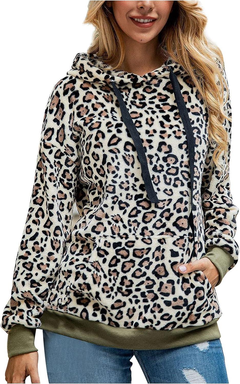 Women's Leopard Sherpa Pullover Fuzzy Fleece Sweatshirt Hoodies Outwear Long Sleeve Drawstring Hooded Plush Coat