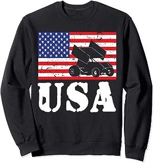 Distressed Sprint Car Racing USA American Flag Vintage Rider Sweatshirt