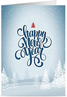Happy New Year Cards - One Jade Lane - Winter White, 5x7, Heavy Stock, Set of 18 Holiday Cards & Envelopes.