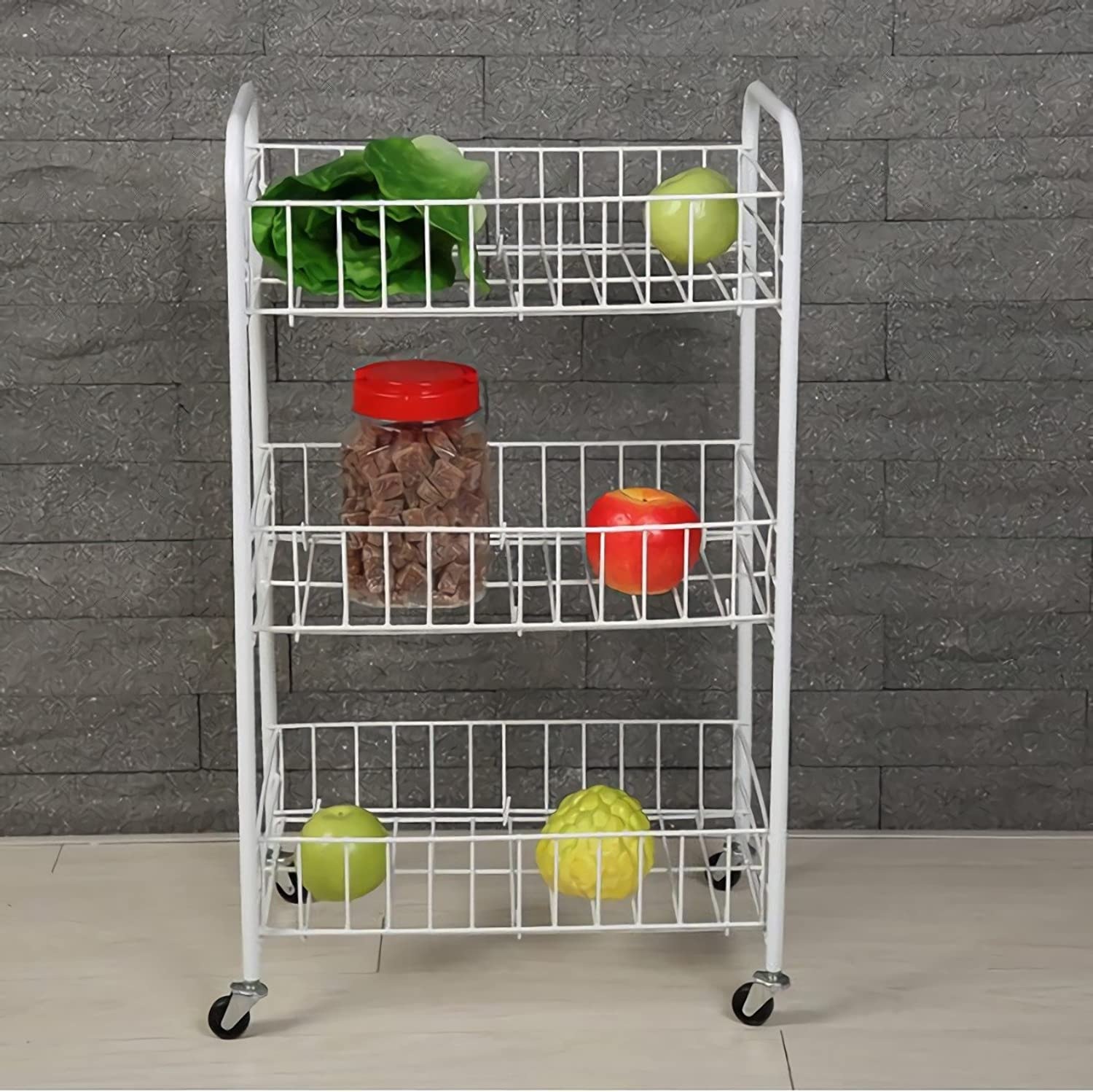 Rolling Cart,Plastic Coated Storage, 3 Baskets