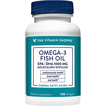 The Vitamin Shoppe Omega 3 Fish Oil 1000mg, EPA 300mg DHA 200mg, Purity Assured, Molecularly Distilled to Support Cardiovascular, Joint and Brain Health (120 Softgels)