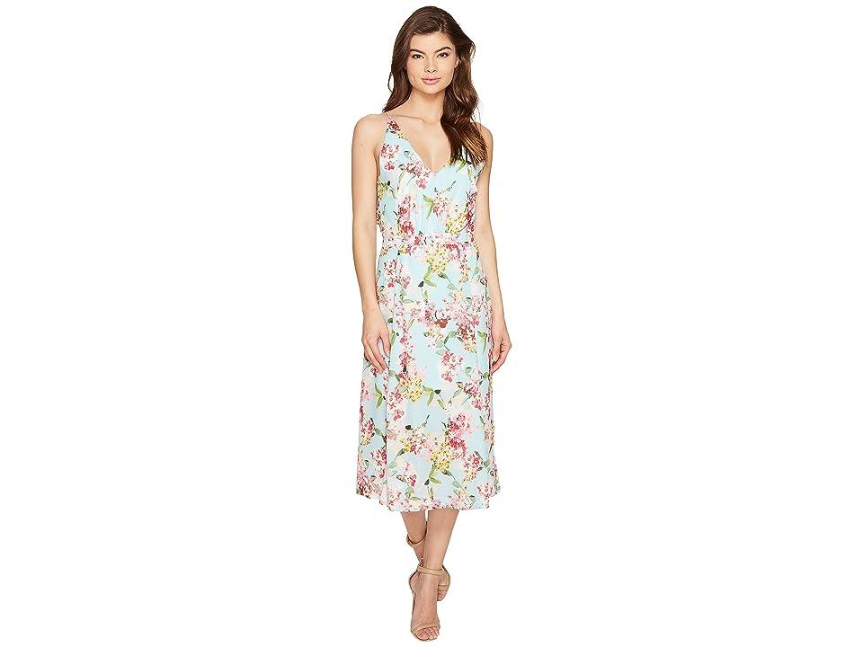 Adelyn Rae Valerie Woven Printed Maxi Dress (Aquamarine) Women