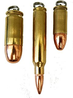 Set of Three Bullet Pendants, Dogtag Necklace, or Key Rings 9mm, 45 and 223,