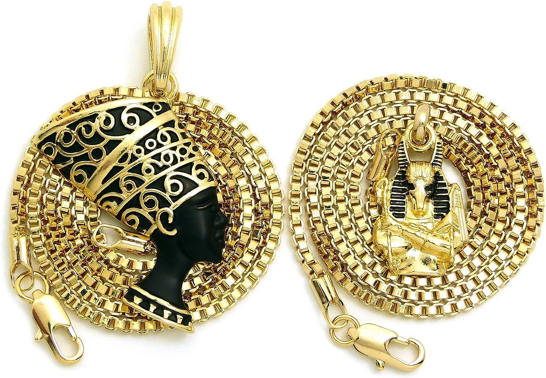 CBC Crown Egyptian Queen Nefertiti Egyptian Symbols Pan Africa Pendant Box Chain Necklace Set