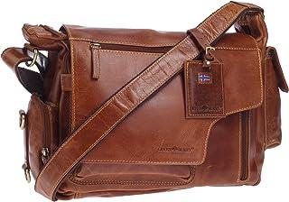 Greenburry Expedition Leder-Handtasche Ledertasche Umhängetasche - Echt Leder-Überschlagtasche - 39x28x13cm