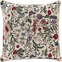 Signare Tapestry Double Sided Square Throw Pillow Cover 18 x 18/ 45 x 45cm (No Padding) in Floral Morning Garden Design