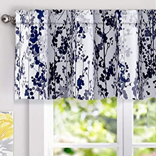 DriftAway Leah Abstract Floral Blossom Ink Painting Window Curtain Valance Rod Pocket 52 Inch by 18 Inch Plus 2 Inch Header Navy Silver Gray