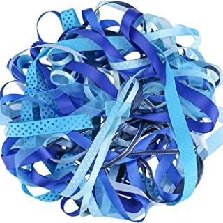 Luxbon - Random Selection Off Cut Pre-Cut Ribbon Bundle Value Pack Contains Approx 21.9Yd (10x2.19Yd) Ribbons - Blue Shade