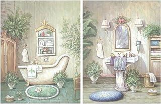 Dcine Set de 2 Cuadros de baño de Tonos Verdes Pastel.