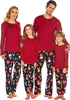 Ekouaer Family Christmas Pajamas Set Cotton Pj Long Sleeve Top & Pants Sleepwear Women/Men/Boys/Girls