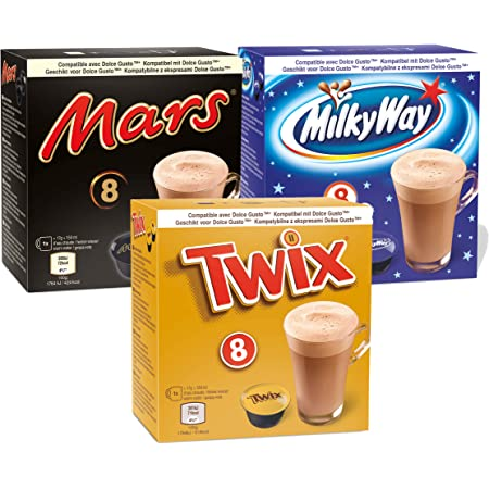 Dolce Gusto Boissons au Chocolat - 24 Capsules (8 Mars + 8 Twix + 8 Milky Way)