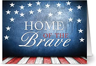 Patriotic Greeting Cards 24 Pack –Home of the Brave – Unique American Design – RED ENVELOPES INCLUDED – Glossy Cover Blank Inside – By Note Card Café
