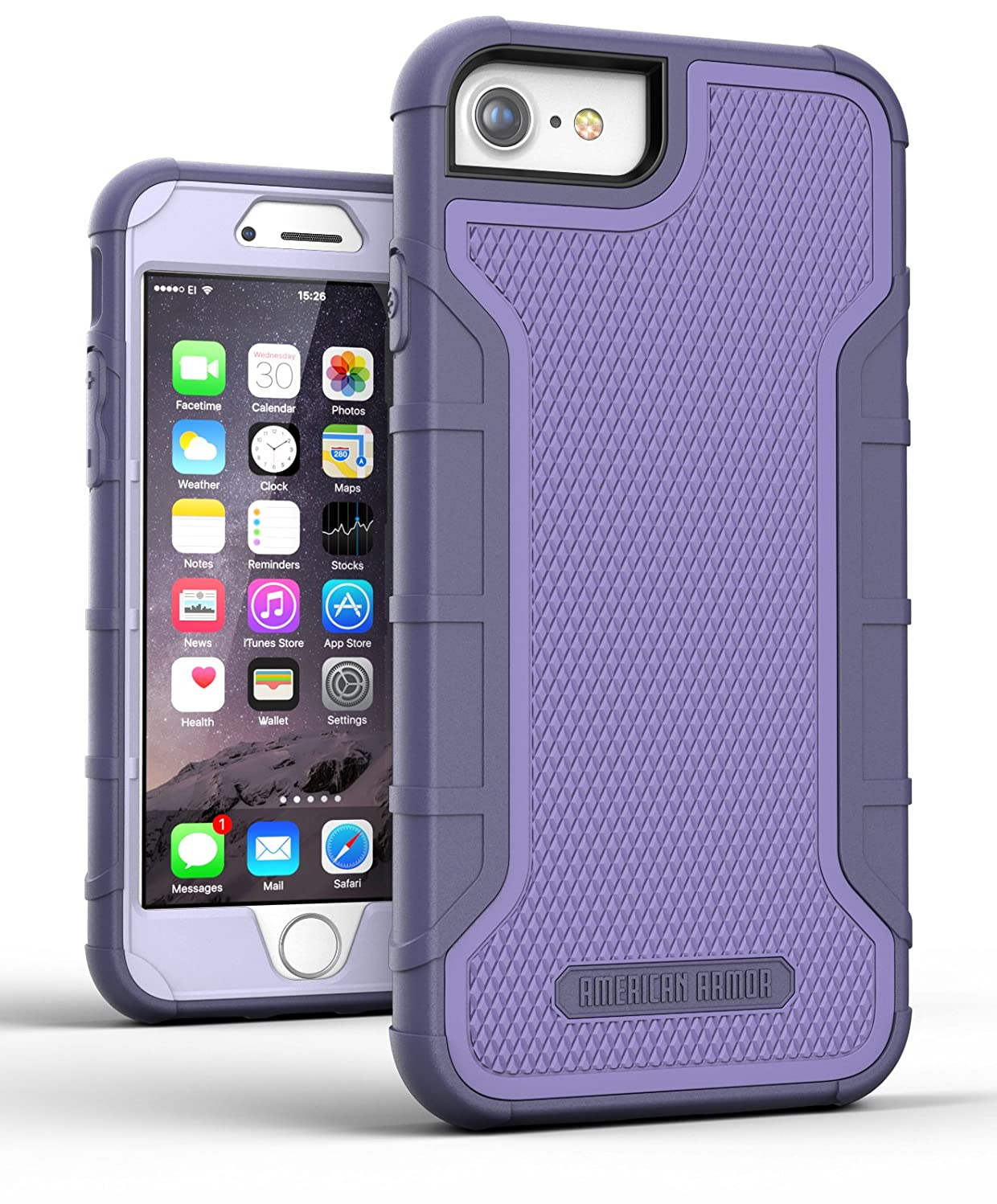 Encased iPhone 8 Case Purple - Dual Layer Tough Case w/Built in Screen Protector (American Armor2) Strong Heavy Duty, Rugged Hybrid Armor