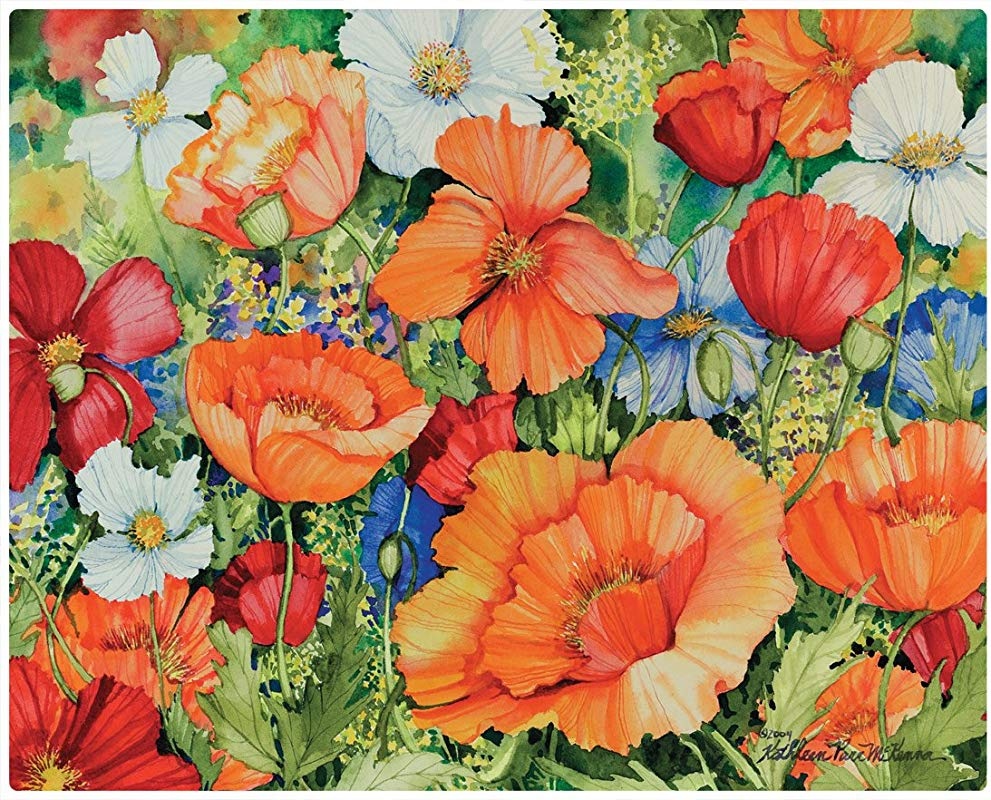 Magic Slice Lively Poppies By Kathleen Parr McKenna Non Slip Flexible Cutting Board 12 X 15