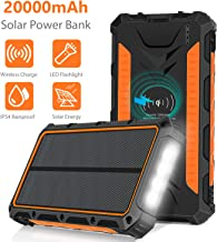 Solar Charger 20000mAh, Wireless Portable Solar Power Bank External Backup Battery, 3 Output Ports, 4 LED Flashlight, Carabiner, IP54 Rainproof for Camping, Outdoor Activities