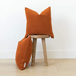 Woven Nook Decorative Corduroy Throw Pillow Covers ONLY Set of 2 18x18'' and 22x22'' for Couch, Sofa, or Bed Modern Quality Design Corduroy (22'' x 22'', Persimmon Orange)