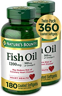 Fish Oil by Nature's Bounty, Dietary Supplement, Omega-3, Supports Heart Health, 1200 mg Twin Packs, 360 Rapid Release Liq...