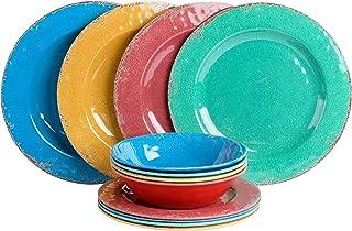 Gibson Mauna 12pc Dinnerware Set - 4 Assorted Colors Burgundy/Blue/Green/Yellow - Melamine -