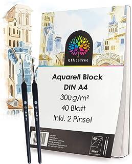 OfficeTree Papier Aquarelle A4 40 Feuilles - 300g de Feuille Dessin Blanc - Aquarelle Papier - Bloc Aquarelle - Feuille Aq...