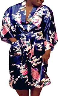 Floral Satin Womens Plus Size Robes, Lightweight, Sizes 20-38, Knee Length