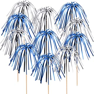 TecUnite 100 Pieces Foil Frill Firework Cupcake Picks Christmas Cupcake Topper 9 Inch Coconut Tree Shape, Food Picks Supplies Party Decoration (Silver, Blue)