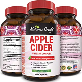 Natures Craft Apple Cider Vinegar Pills – For Weight Loss ACV Capsules Extra Strength Fat Burner Natural Supplement Pure D...