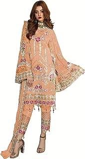 Fabzara Womens Latest Orange Color Embroidered Pakistani Suit & Set (MF_55002_Orange)_Semi-Stitched