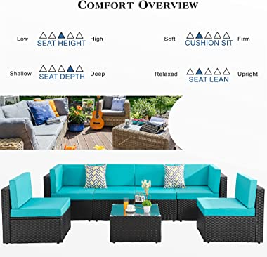 Shintenchi Wicker Rattan Outdoor Patio All Weather Furniture w/Removable Cushions - 7 Pieces Set: Sofa Set & Tea Table [B