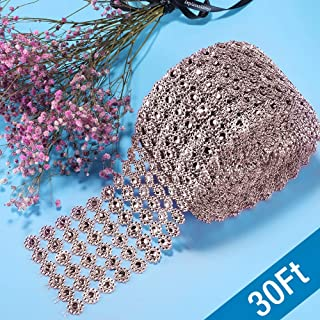 Diamond Ribbon, Bling Diamond Wrap Silver Flower Mesh Ribbon for Event Decorations, Wedding Cake, Bridal & Party Decorations Acrylic Bling Rhinestone Roll (1 Roll, 6 Rows,30 Feet)-Rose Gold