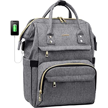 Laptop Backpack Women Teacher Backpack Nurse Bags, 15.6 Inch Womens Work Backpack Purse Waterproof Anti-theft Travel Back Pack with USB Charging Port (Grey)