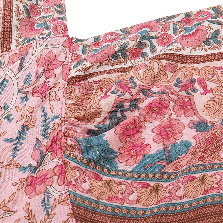 JPLZi Women's Dresses Bohemian Floral V Neck Sleeveless Ethnic Style Patchwork Pleated Beach Maxi Dress