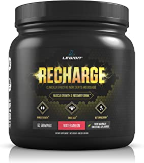 Legion Recharge Post Workout Supplement - All Natural Muscle Builder & Recovery Drink With Creatine Monohydrate. Naturally Sweetened & Flavored, Safe & Healthy. Watermelon, 60 Servings.