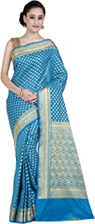 Chandrakala Women's Blue Kataan Silk Blend Banarasi Saree,Free Size(1268BLU)