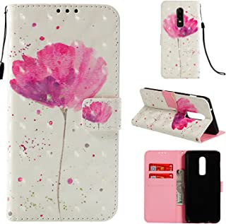 OnePlus 6 Case,PU Leather Wallet Flip Full Body Protective Phone Cover with Credit Card Slot Wrist Strap Magnetic Closure Stand Accessories Flower