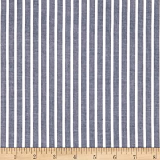 Fabric.com White Navy Cotton Lawn Stripe Fabric by The Yard