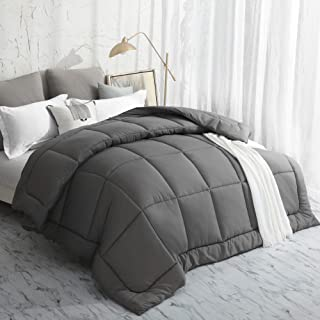 Oubonun All Season Twin Comforter Summer Cool Soft Quilted Down Alternative Duvet Insert with Corner Tabs,Luxury Fluffy Reversible Hotel Collection (Grey, Twin)