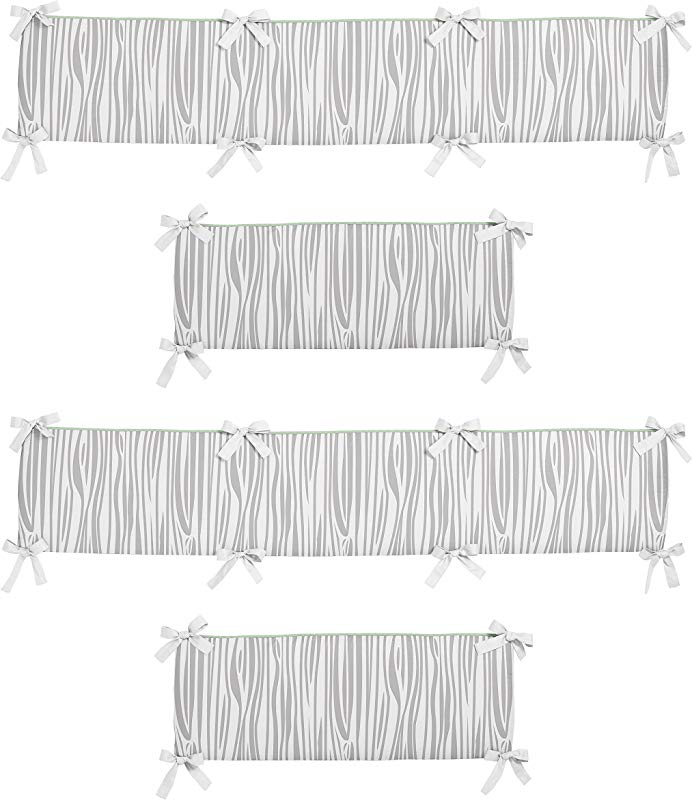 Sweet Jojo Designs Coral Mint And Grey Woodsy Girls Collection Baby Girl Crib Bumper