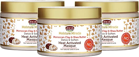 African Pride Moisture Miracle Moroccan Clay & Shea Butter Heat Activated Masque (3 Pack) - For Natural Coils & Curls, Detoxes & Softens, Removes Impurities & Product Build-Up from Hair, 12 oz