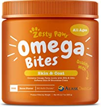 Zesty Paws Omega 3 Alaskan Fish Oil Chew Treats for Dogs - with AlaskOmega for EPA & DHA Fatty Acids - Itch Free Skin - Hip & Joint Support + Heart & Brain Health