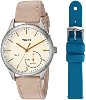 Timex IQ+ Move Leather Strap with Extra Silicone Strap