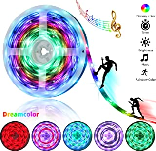 Dreamy Color LED Strip Lights - 16.4ft/5M Music Sync RGB LED Light Strip with Remote - Rainbow Color Chasing LED Tape Lights- Waterproof Flexible Strip Lights 5050SMD 150LED Rope Lights Full Kit