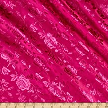 Ben Textiles Rose Satin Jaquard Fabric, Fuchsia, Fabric by the yard