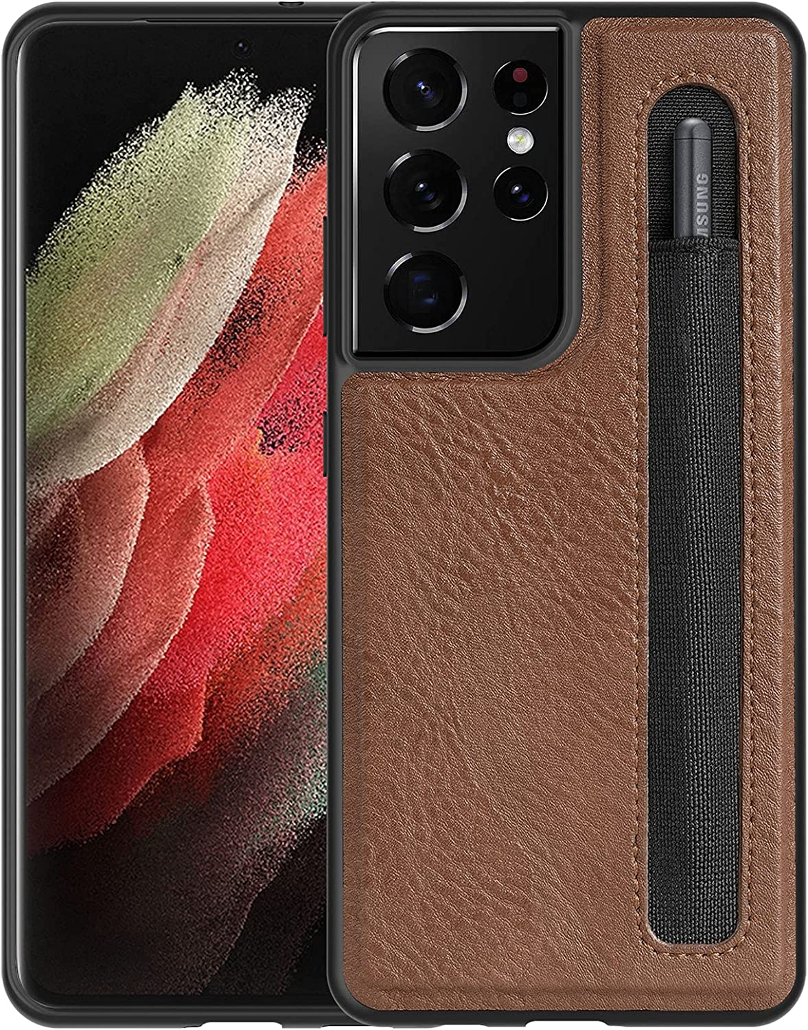 CloudValley for Galaxy S21 Ultra 5G Case with S Pen Holder, Slim Soft TPU and Leather Hybrid Pen Slot Case - Brown