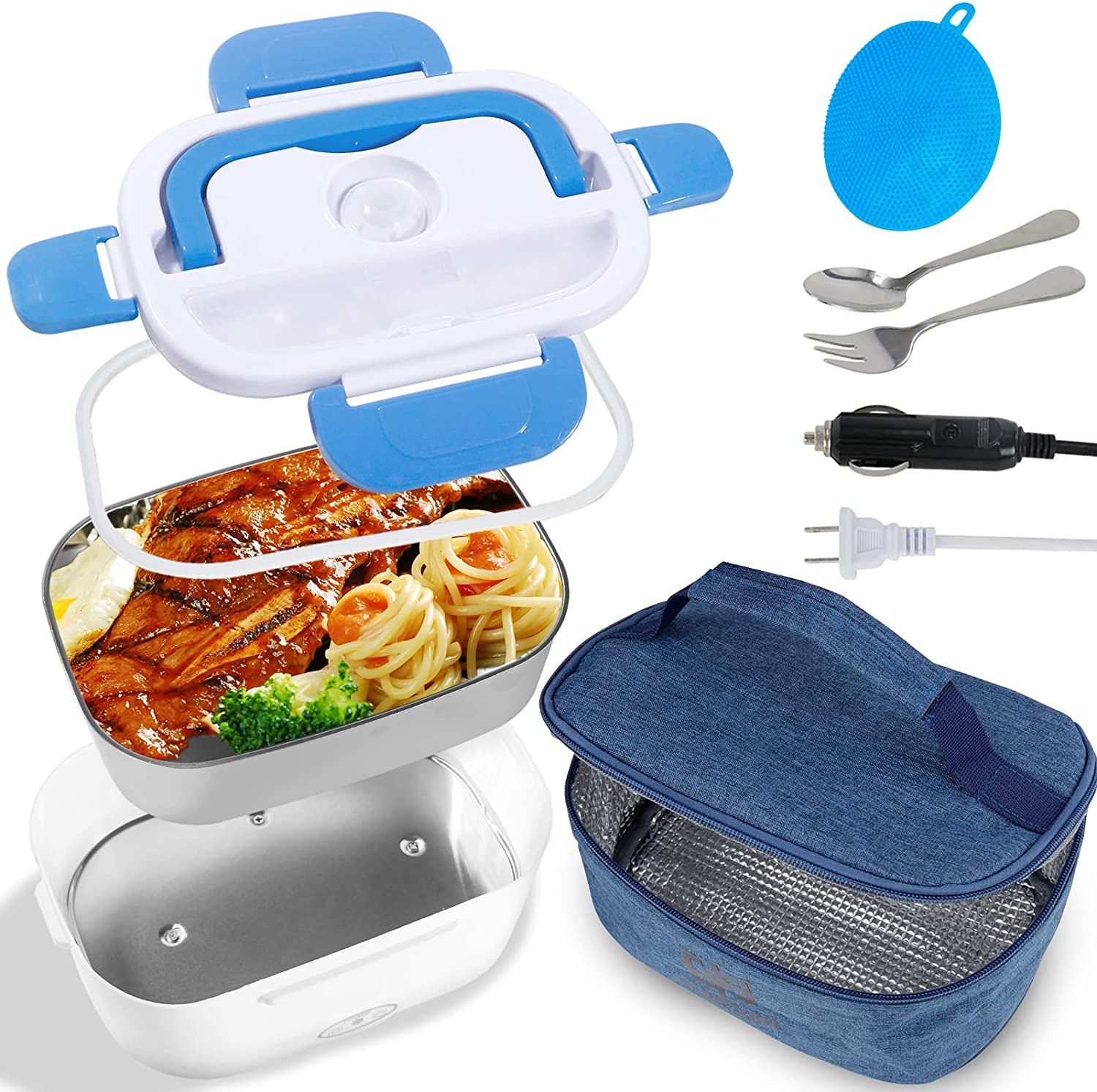 Electric Lunch Box for Car and Home, Self Heating Lunch Box Portable Microwave, Heated Lunch Boxes for Adults Work 12V 24V Hot Heatable Portable Food Warmer Heater with Bag Containers