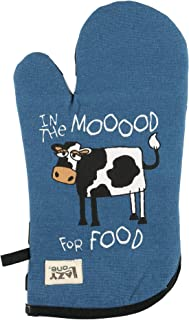 Moody in The Mornings Durable Canvas Cottons Oven Mits by LazyOne | Cabin, Home and Kitchen Animal Gifts (ONE Size)